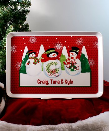 Cheerful Snowmen Personalized Tray