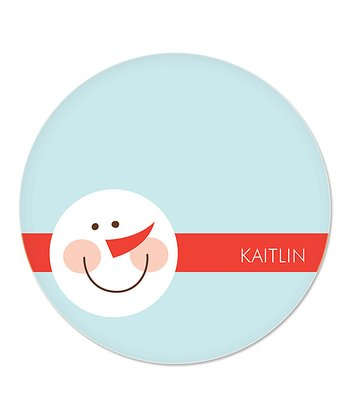 Blue Snowman Personalized Plate