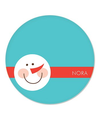 Teal Snowman Personalized Plate