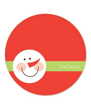 Red Snowman Personalized Plate