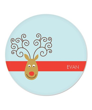 Blue Reindeer Personalized Plate