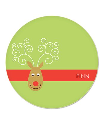 Green Reindeer Personalized Plate