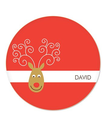 Red Reindeer Personalized Plate