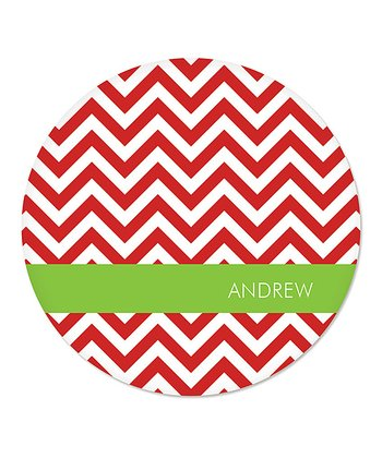 Red Zigzag Personalized Plate