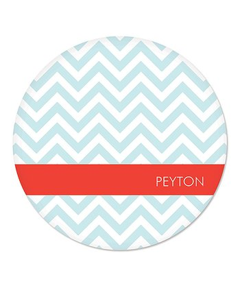 Blue Zigzag Personalized Plate