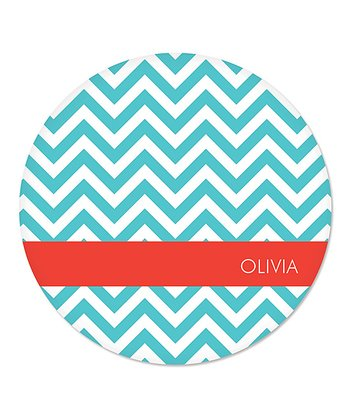 Teal Zigzag Personalized Plate