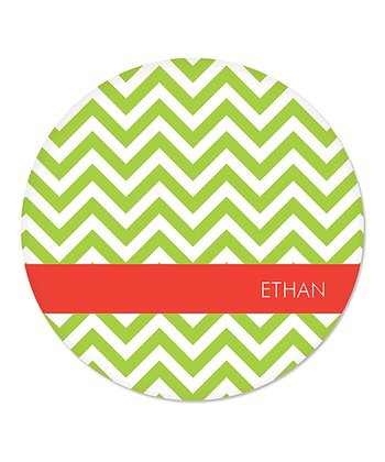 Green Zigzag Personalized Plate
