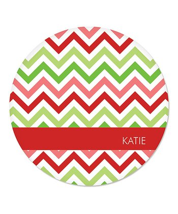 Red Christmas Zigzag Personalized Plate