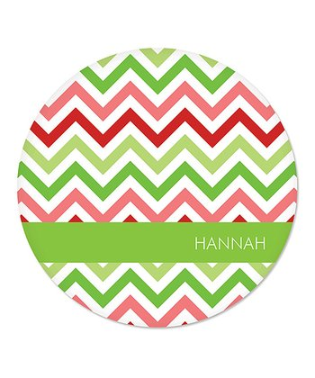 Green Christmas Zigzag Personalized Plate