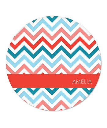 Red & Teal Christmas Zigzag Personalized Plate