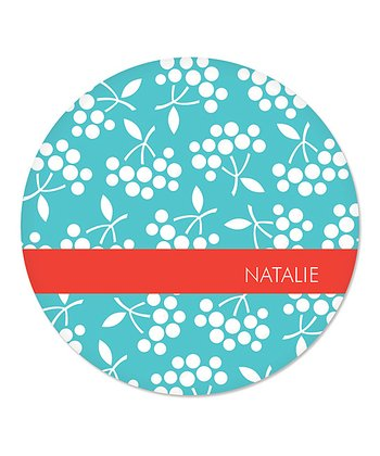 Teal Berry Personalized Plate
