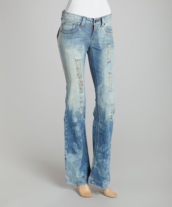 Blue Distressed Acid Wash Bootcut Jeans - Women