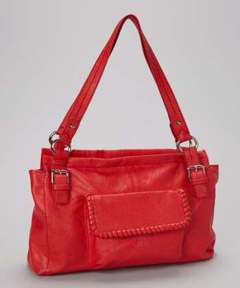 Red Pocket Shoulder Bag