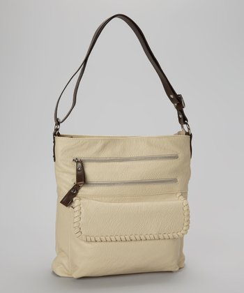 Taupe Zipper Crossbody Bag