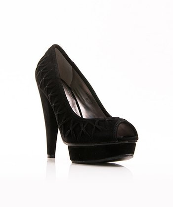 Black Tucked Adala Platform Peep-Toe Pump