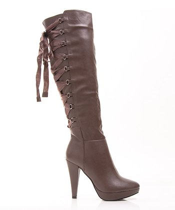 Tan Lace-Up Fashion News Boot