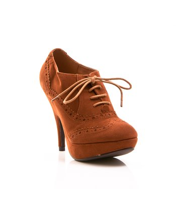 Cognac Lace-Up Oksana Pump