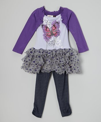 Purple & Gray Butterfly Tutu Tunic & Leggings - Girls