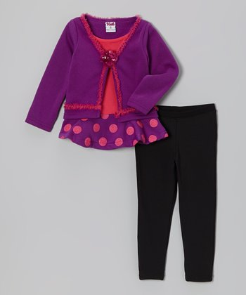 Purple Polka Dot Tunic & Black Leggings - Toddler & Girls