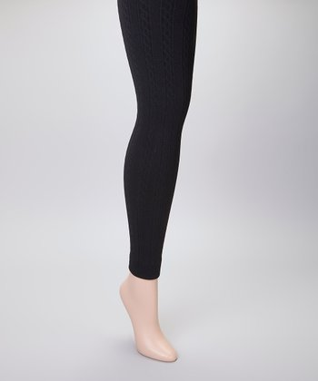 Black Cable-Knit Fleece-Lined Footless Tights Set - Women