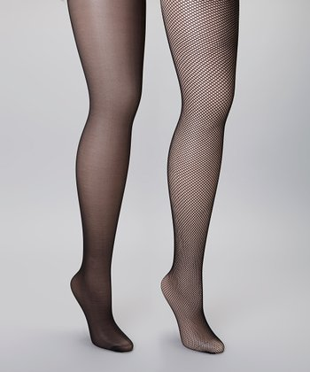 Black Sheer & Fishnet Tights Set