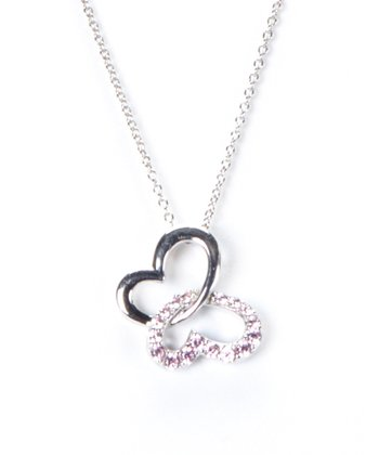 Sterling Silver & Pink Cubic Zirconia Butterfly Pendant Necklace