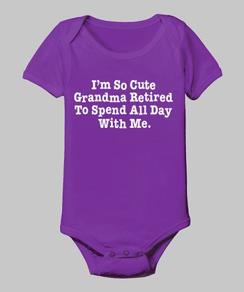 Purple 'Grandma Retired to Spend' Bodysuit - Infant