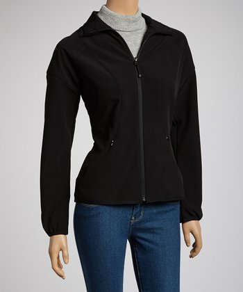 Black Soft-Shell Track Jacket - Women