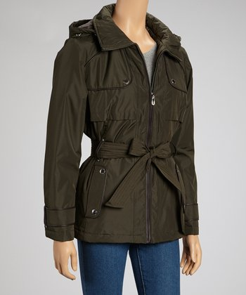 Olive Belted Jacket - Women