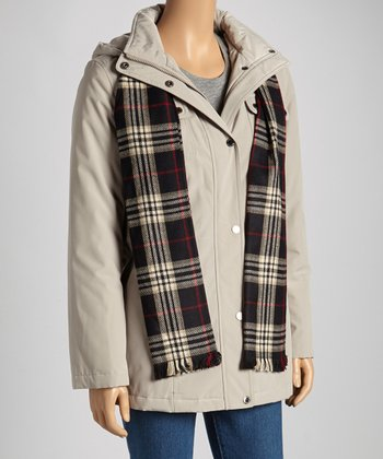 Gray Jacket & Plaid Scarf - Women