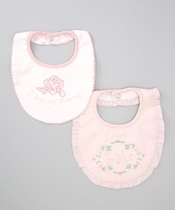 Pink & White Flower Bib Set