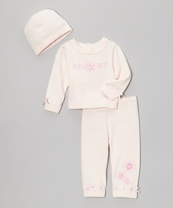 Light Pink 'Baby' Flower Knit Top Set
