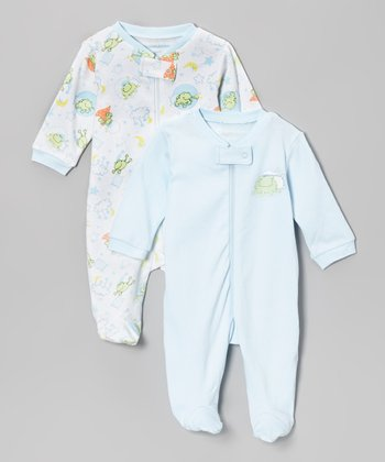 Baby Blue & White Frog Pals Footie Set
