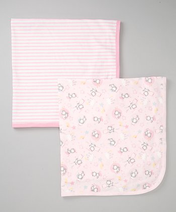 Pink Stripe & Kitty Stroller Blanket Set