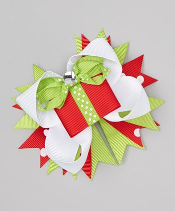 Red & Green Gift Bow Clip