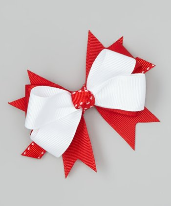 Red & White Stitch Bow Clip