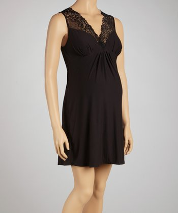 Black Lace Surplice Maternity Chemise - Women