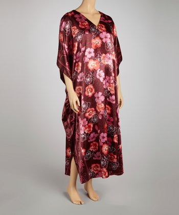 Dark Rose Floral V-Neck Maternity Caftan - Women