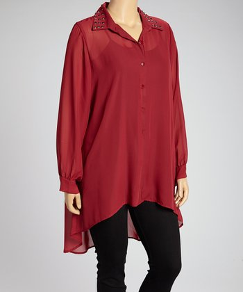 Burgundy Stud Sheer Button-Up - Plus