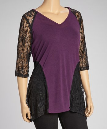 Purple Lace V-Neck Top - Plus