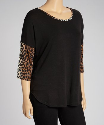 Black Cheetah Scoop Neck Tunic - Plus