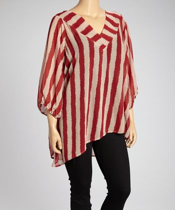 Red & Khaki Stripe Sheer Hi-Low Top - Plus