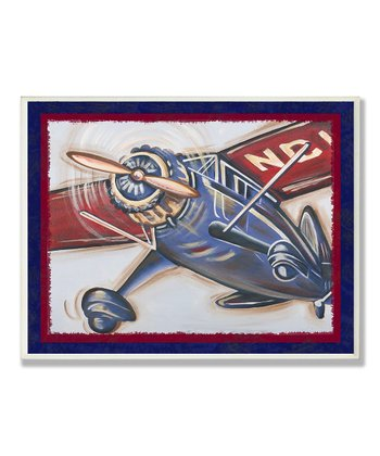 Blue & Red Vintage Plane Framed Wall Art
