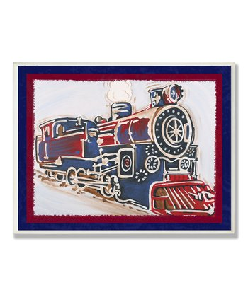 Blue & Red Vintage Train Framed Wall Art