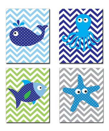 Blue Zigzag Sea Creatures Wall Art Set