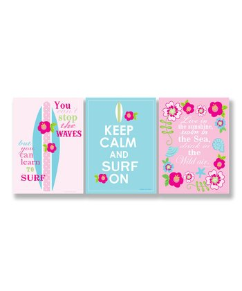 Pink & Blue 'Keep Calm and Surf On' 'S' Wall Artet