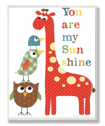 'You Are My Sunshine' Giraffe & Birds Wall Art