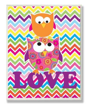 Rainbow Zigzag 'Love' Owl Wall Art