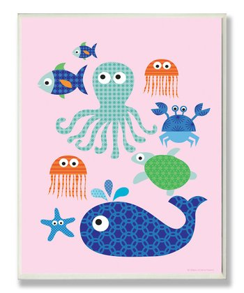 Pink Sea Creatures Wall Art