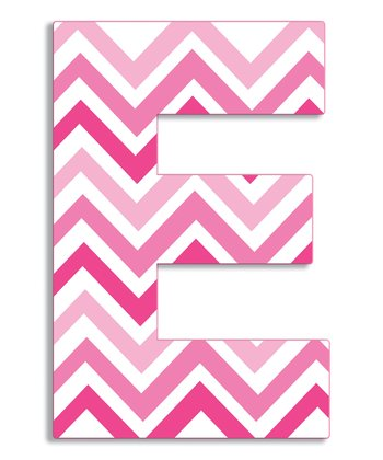 Pink Zigzag 'E' Wall Art